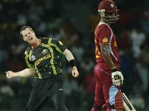 Australia have beaten West Indies in a rain-affected World Twenty20 Group B match in Colombo. (AAP)